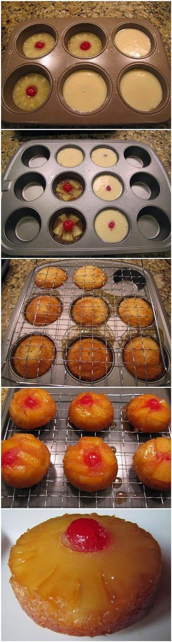 Mini Pineapple Upside Down Cakes. Brown sugar topping with pineapples and cake. They are delicious and quite easy to make. YUM!