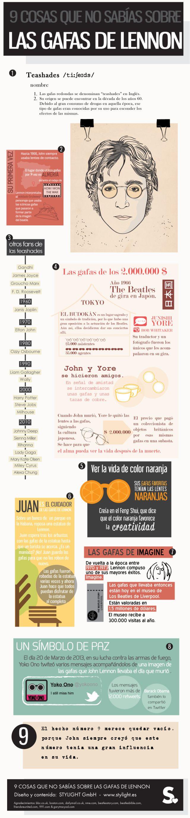 9 cosas que no sabías sobre las gafas de Lennon #infografia