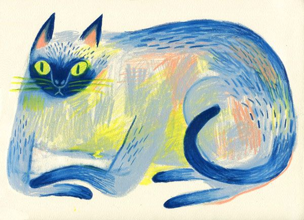 """JooHee Yoon's """"Blue Cat"""" on drawing paper. (Originally recommended by the blog…"""