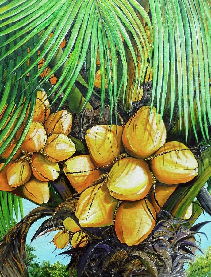 Yellow Coconut Tree Painting By Karin Kelshall