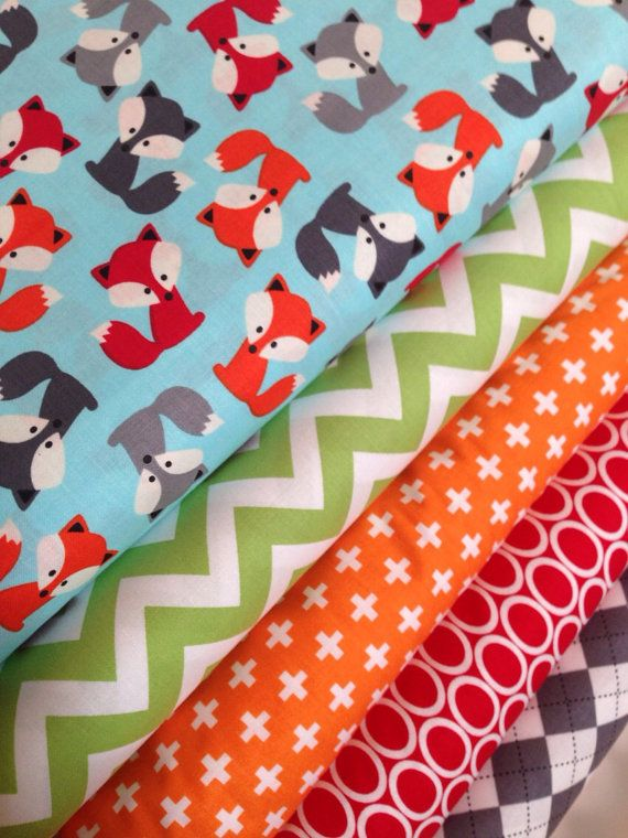 Urban Zoologie Fox quilt or craft fabric bundle by Ann Kelle for Robert Kaufman. 1/2 yard of each fabric shown, 5 total. Such a cute line! A limited