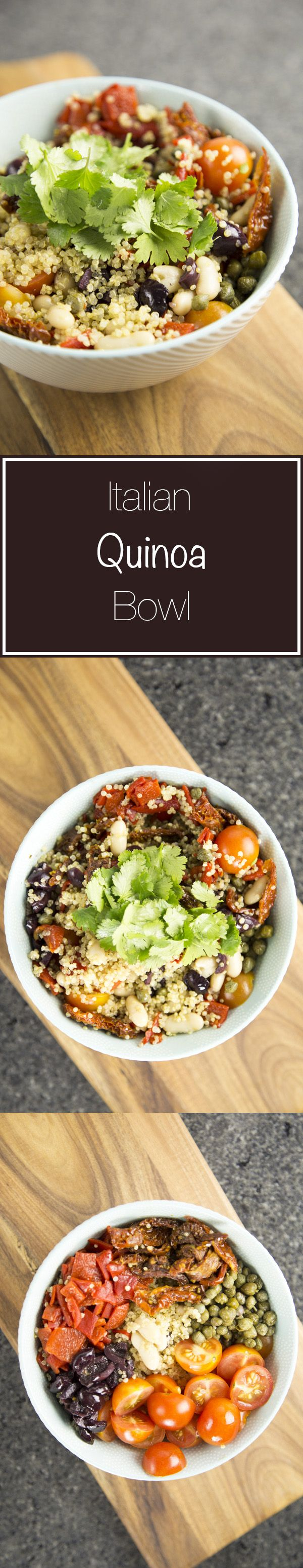 A fresh and salty Italian quinoa bowl. This bowl is filled with all the comforting strong flavours from Italian food but is light enough to eat for lunch.