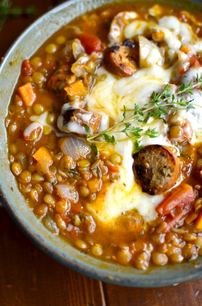 Lentil Stew with Roasted Garlic Chicken Sausage | Stew, The o'jays and ...
