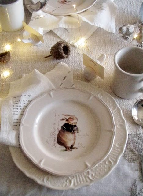 table.quenalbertini: Bunnies In Winter Tablescape | Cabin & Cottage