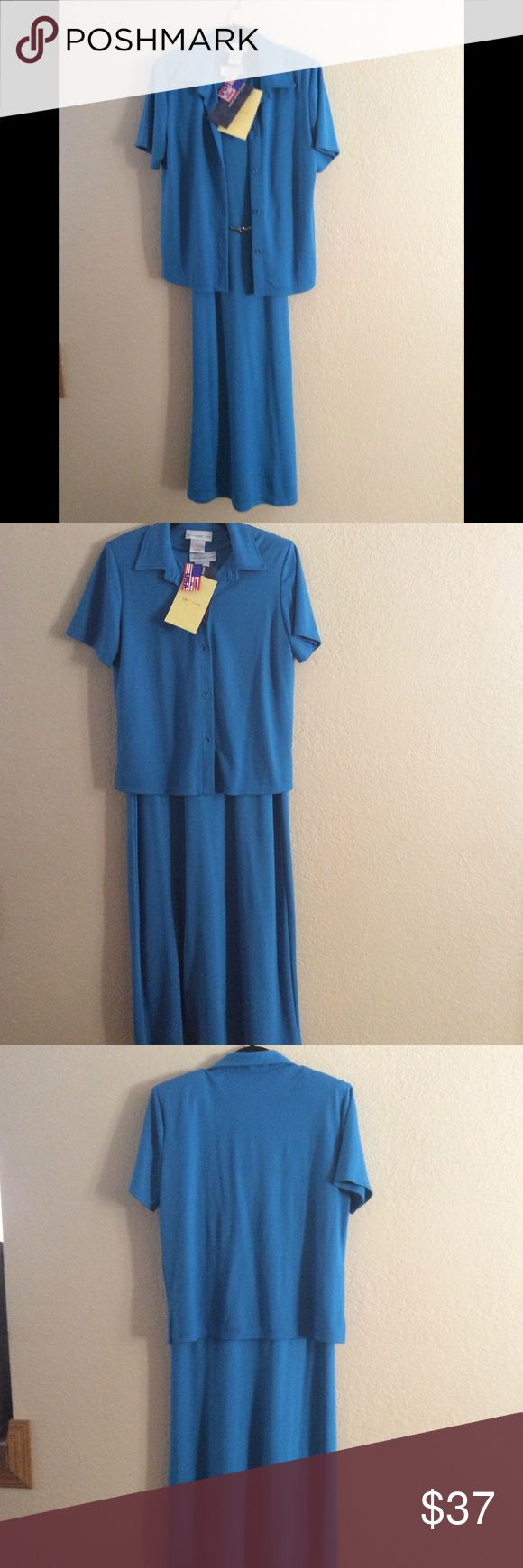 Susan Graver -  Dress w/Matching Short Sleeve Top NWT - Susan Graver Dress Set - Pretty Blue, very soft and comfortable fabric, Set has Short Sleeves, Collar, and matching blue mother of pearl look buttons. Dress is sleeveless and can be worn with or without matching Top. Add a belt for a different look as shown. (Belt not included) Just a change it up idea 💐Great for work or any occasion. NEW with tags! 67% Polyester, 33% Rayon - Machine wash, tumblr dry low. Size Small 6-8 Susan Graver…