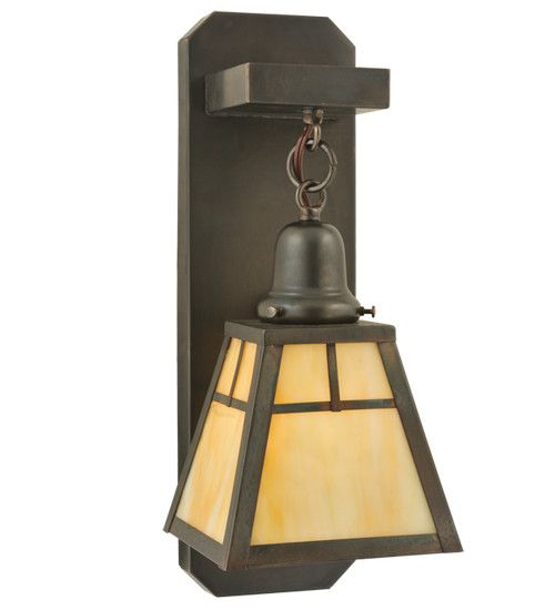"""4.75""""W """"T"""" Mission Hanging Indoor & Outdoor Wall Sconce"""
