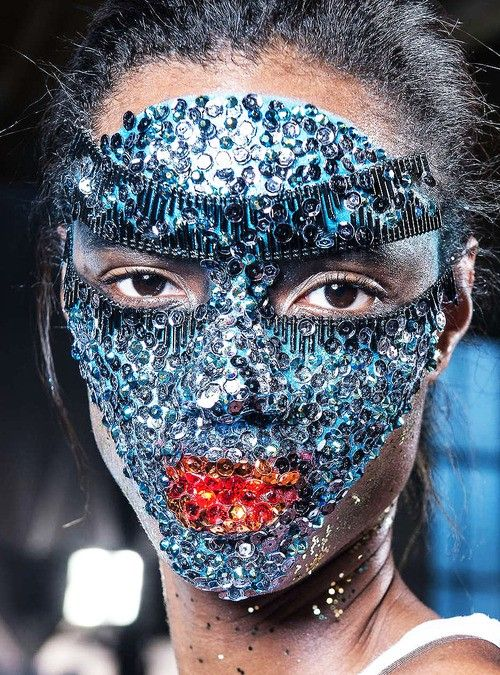 Katrina Troncoso Swarovski crystal mask crafted by Pat Mcgrath at Givenchy SS 2014.