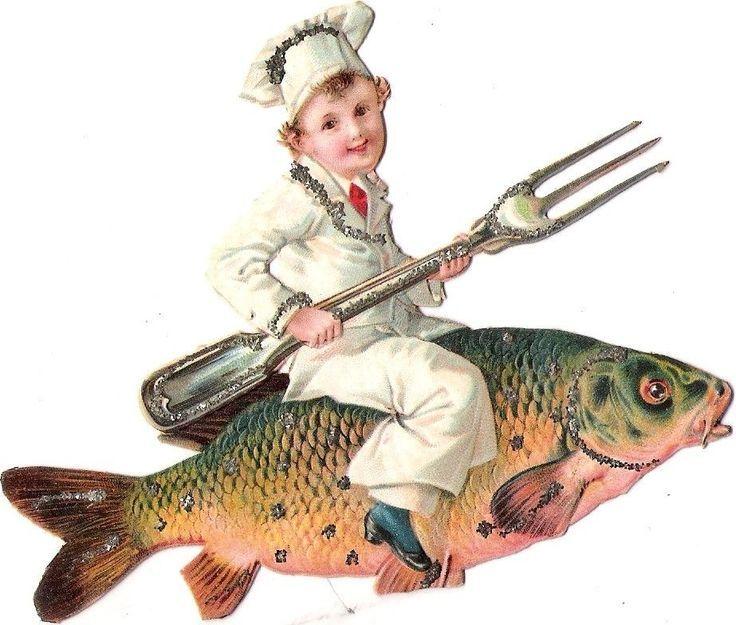 Oblaten Glanzbild scrap die cut chromo  Fisch  fish  Karpfen  Koch