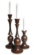 """Pair of Sono Wood Candle Stick/Paire de Bougeoirs en bois de Sono, 8""""H x 5""""DIA"""