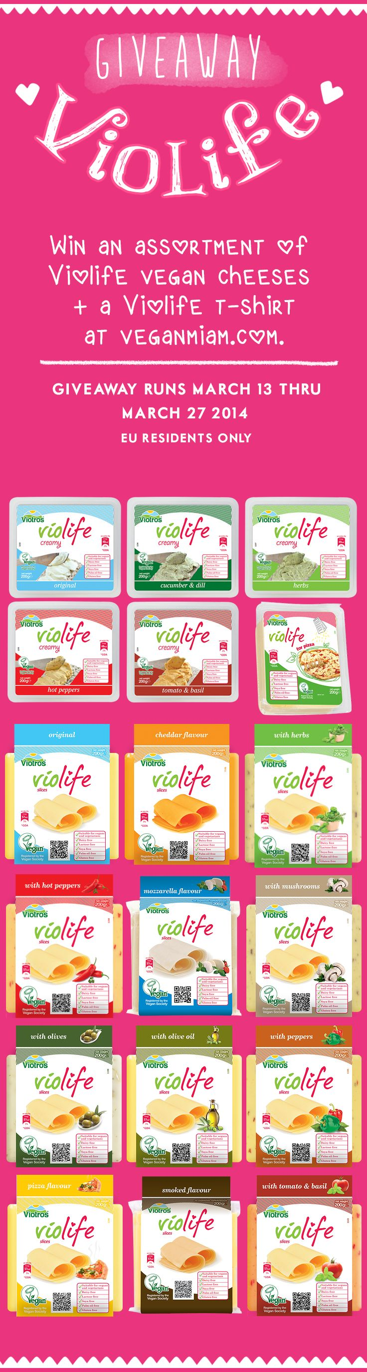 #Violife #Giveaway ♥ Win an assortment of Violife Vegan Cheese Alternatives + a Violife T-Shirt at veganmiam.com. Open to EU Residents only. Giveaway runs March 13 - March 27, 2014.   #glutenfree #soyfree #palmoilfree #vegan #veganmiam  NEED TO TRY THESE 'CHEESE'!