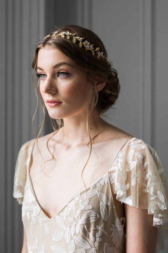 Garden Vine Stirnband, Braut Stirnband, Blattgold Stirnband, Braut Kopfschmuck, Blumenkrone, Braut Ti