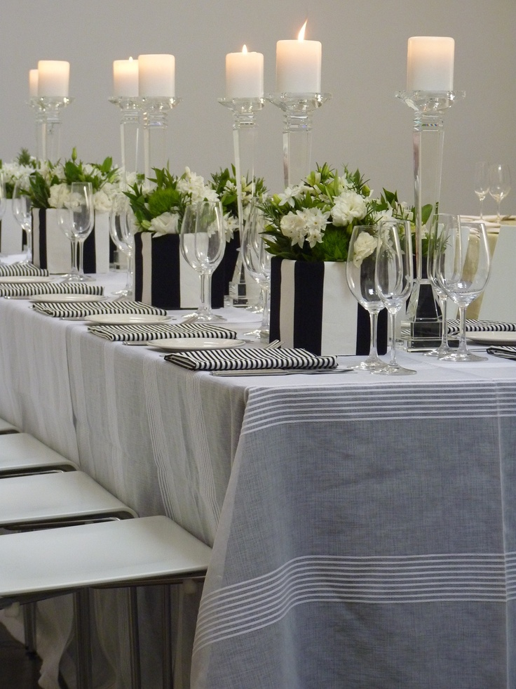 Table Linen U0026 Centrepiece By Table Art. White Sheer Stripe Overlay, Black  Underlay,