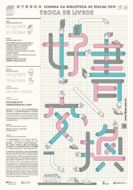 """""""2014澳門圖書館周""""系列活動海報設計..."""