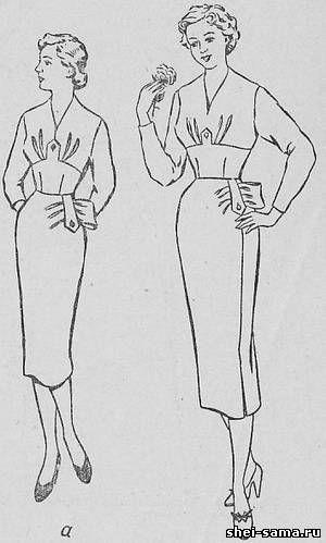 Платье с драпировкой от клапана на левом полотнище юбки - Сто фасонов женского платья - Всё о шитье
