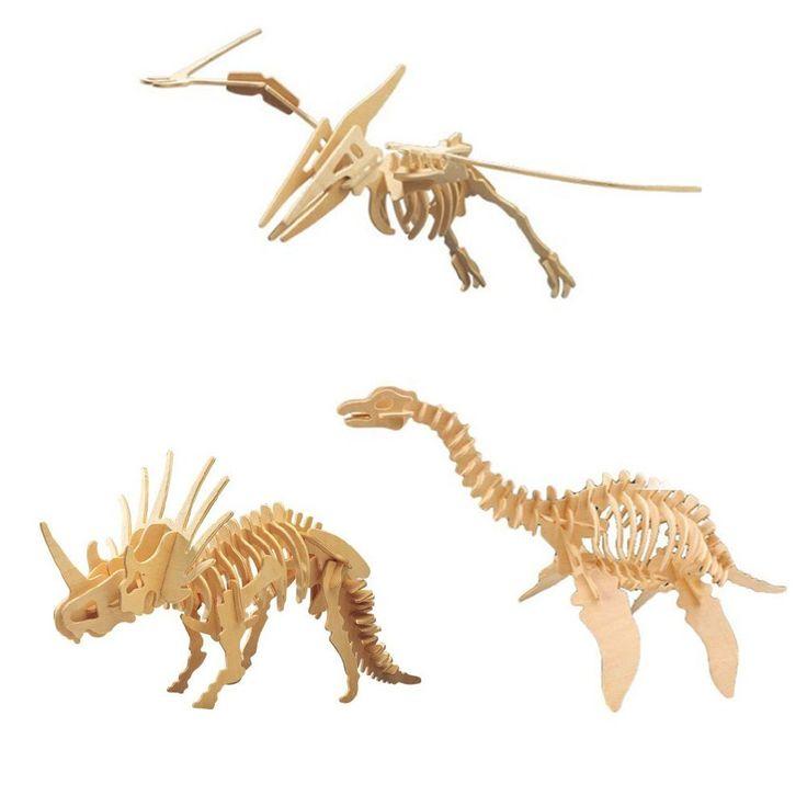 Amazon.co.jp: 3D 木製 立体パズル 3点セット DIY ( 恐竜、動物、爬虫類 etc )創造力を鍛える 知育玩具 夏休み 工作キットにも最適。 (A-2:恐竜 3点セット): スポーツ&アウトドア