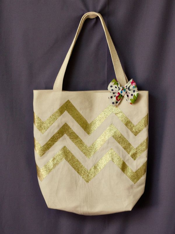 Gold glitter chevron tote bag with vintage floral lining.