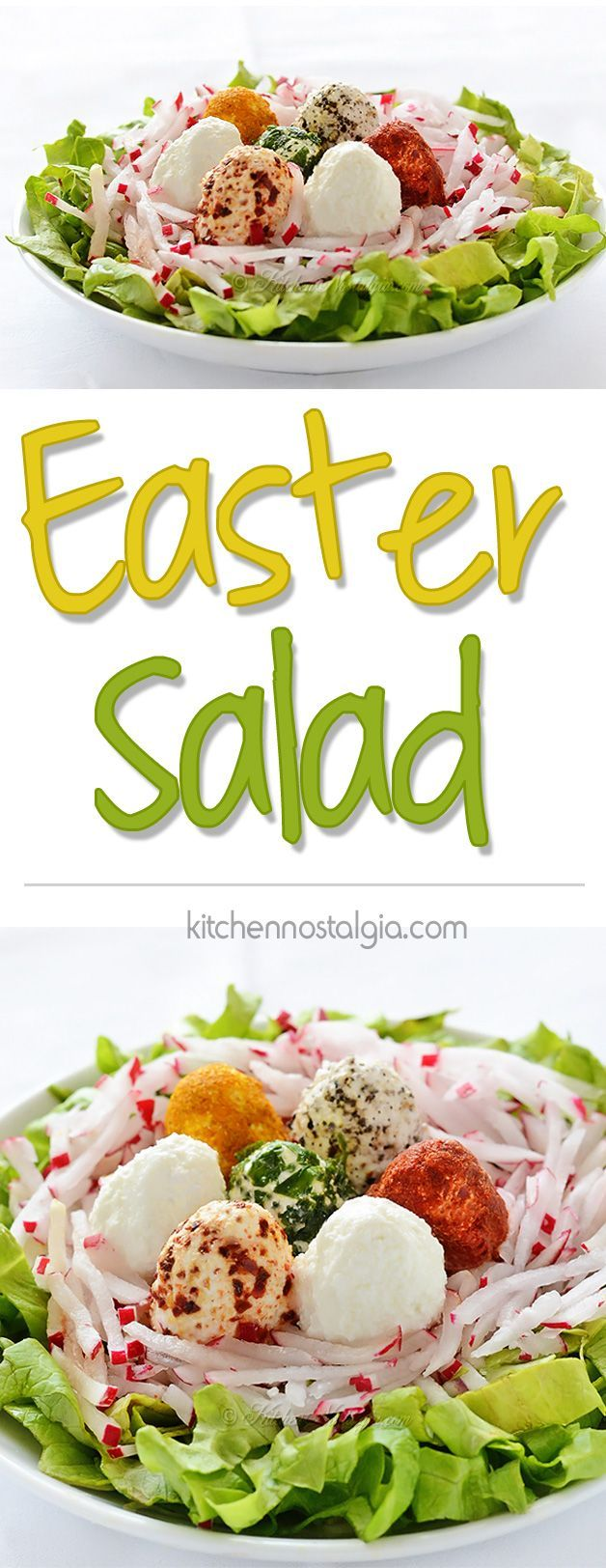 Easter Salad Recipe - idea for decorating your Easter table; kids can help you make it - kitchennostalgia.com