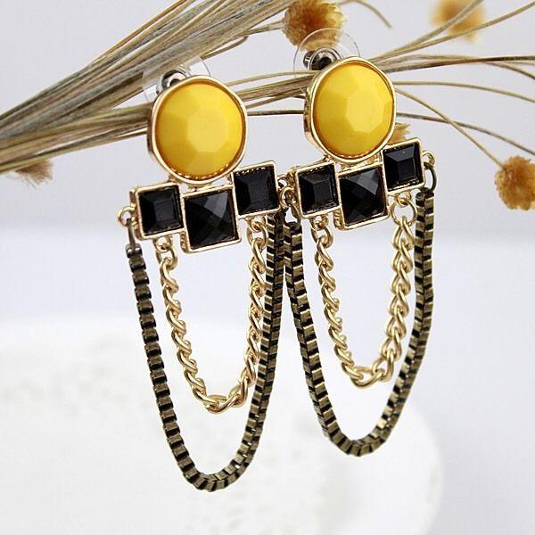 Yellow, Black & Gold Gemstone Earrings, Women's Fashion Accessories