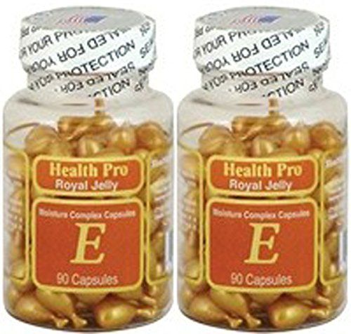 2 x Royal Jelly Vitamin-E Skin Oil 90 Gel Moisture Complex Health Pro Facial Oil Capsules FRESH Good Product quality!!