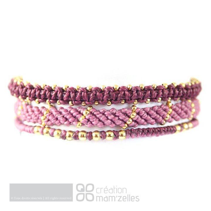 Wakami - set of 3 purple fair trade bracelets.