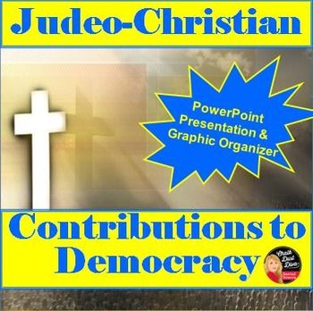 This 19-slide creative power point presentation reviews the major contributions of both Judaism and Christianity on western political thought. Students will take notes on the graphic organizer included and then write a paragraph summary of what they learned on the template provided. A detailed lesson plan and a link to a YouTube video is included.