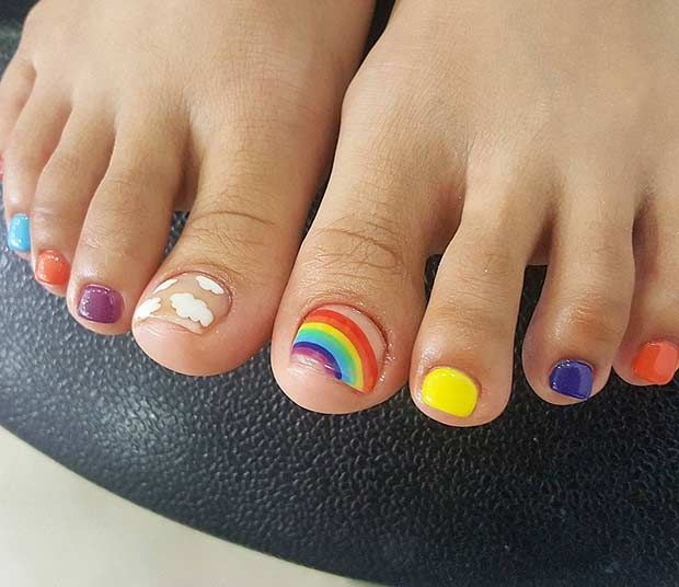 Cute and Colorful Toe Nail Design for Summer