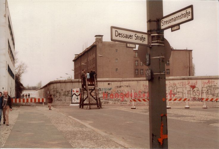 Viewing tower in West Berlin, December 1982. Note the East German lookout on top of the building.
