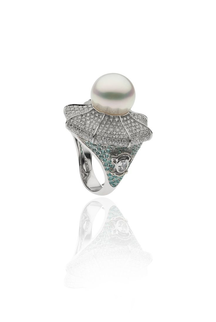 Autore Dome Ring  18k White Gold with Diamonds, Paraiba, Sapphires and a South Sea pearl. Inspired by the Catherine Palace in St Petersburg