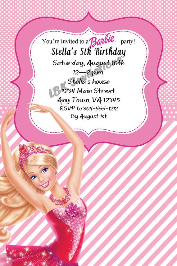8 best Barbie invitation cards images on Pinterest | Barbie party ...