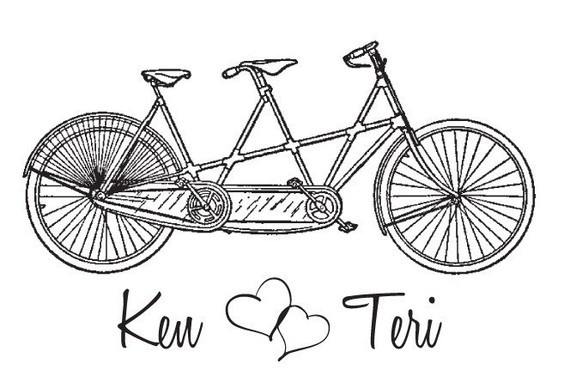 Bicycle built for two custom tandem Mounted Rubber Stamp wedding stamp