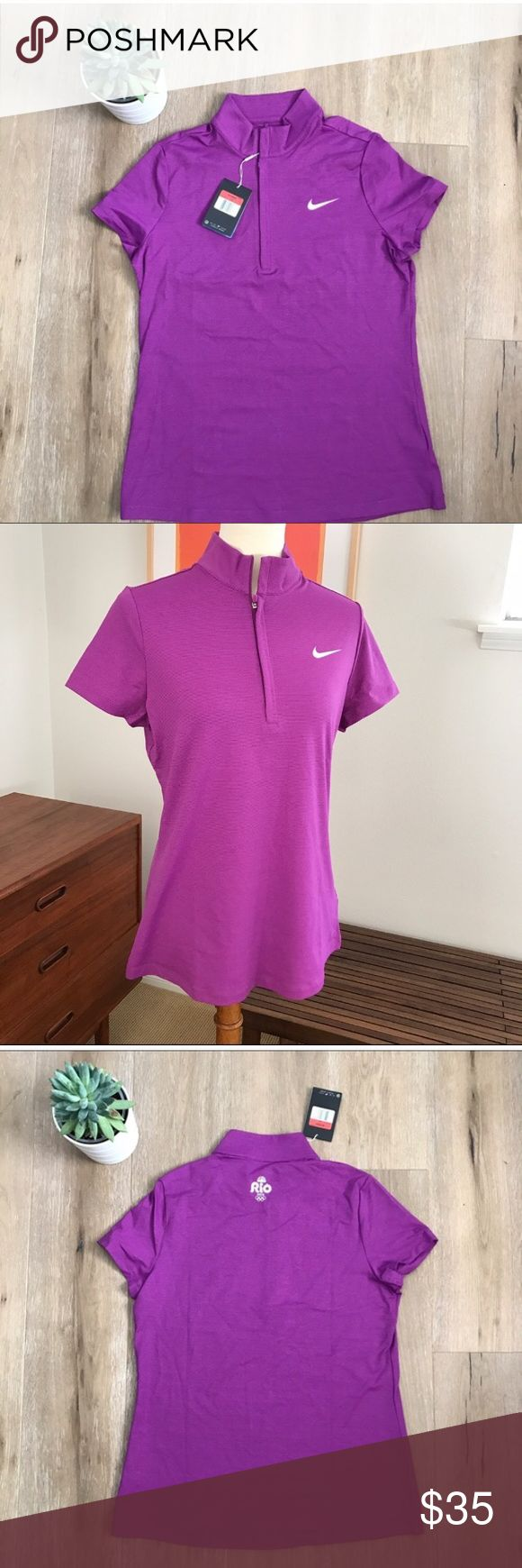 "NWT Nike Golf shirt 👚 from Rio 2016 Olympic Games NWT Nike Golf shirt 👚 from Rio 2016 Olympic games. Size Large. Zipper collar. Collectors item. Bust 19"" Length 26"". Bundle and save! Nike Tops Tees - Short Sleeve"