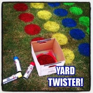 back yard twister fun outdoor games - we should do this with the kids this year!