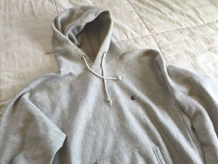 Vintage 80s Champion Reverse Weave Hoodie Sweatshirt Grey Made in USA mint soft