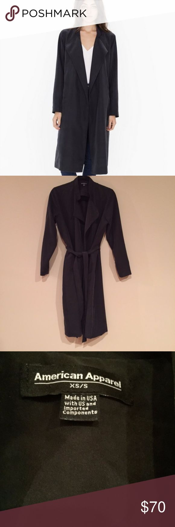 NWOT American Apparel Dylan Lightweight Trench Lightweight trench coat by American Apparel. Size XS/S, Charcoal color. New without tags, perfect condition. No longer available online! American Apparel Jackets & Coats Trench Coats