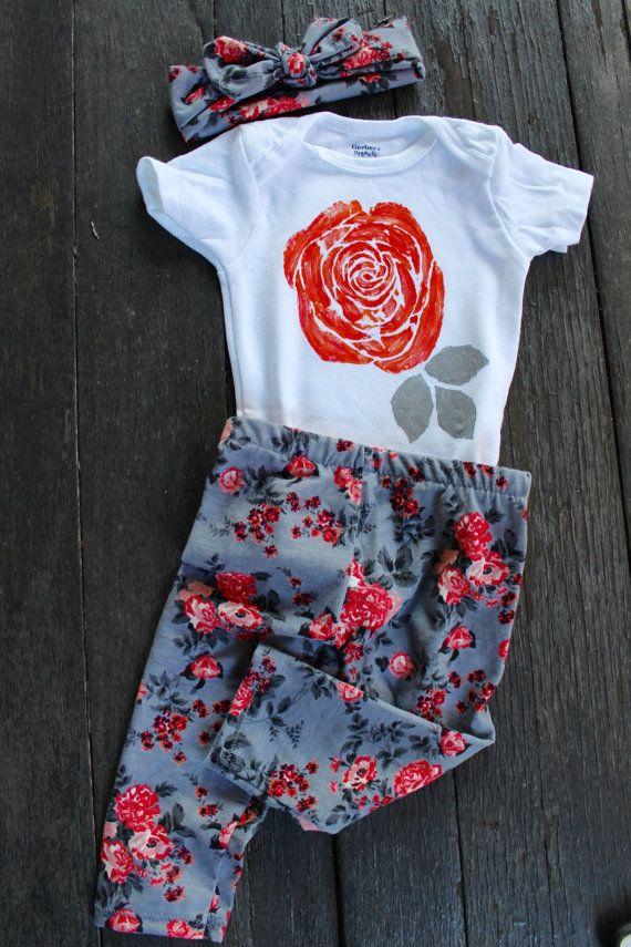 Grey & Coral Floral Leggings/Newborn Baby by EmmaStitchCompany