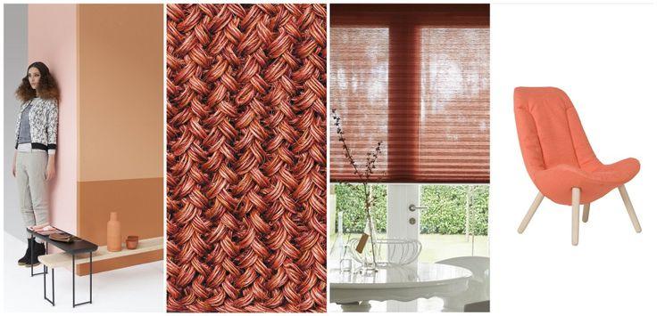Woonmodetrend Brick House van Perscentrum Wonen, Kleed Maglia van Ruckstuhl, Luxaflex® Plisse Shades, Fauteuil 7400 van Gelderland.