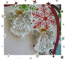 Pair of minature angels sequin motifs Daisys Garden Embroidery is an Online Store supplying to the hand embroiderer and crafter.