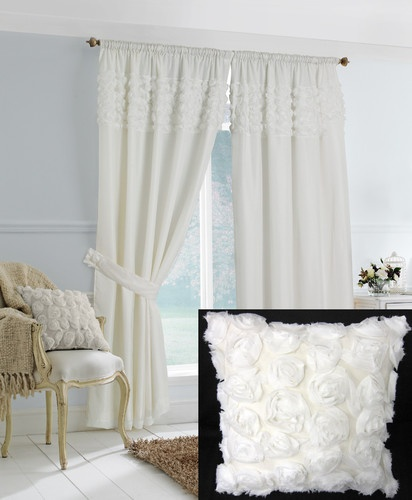 Amazing Superb Cream White Lined Voile Ruffle Floral Pencil Pleat Curtains Drapes  66x72