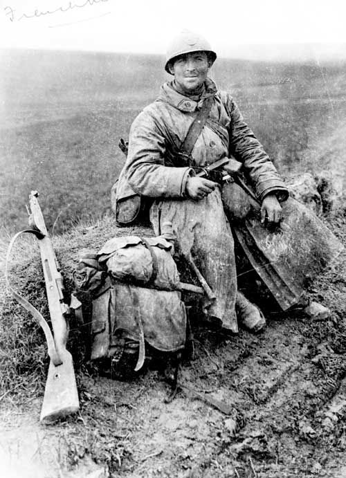 A French soldier, a Poilu, of World War I. Poilu, like the terms Digger or Tommy, was the popular name for a soldier in France during the war. Poilu means literally 'hairy one' and came into usage during the period of Napoleon between 1800 and 1815.