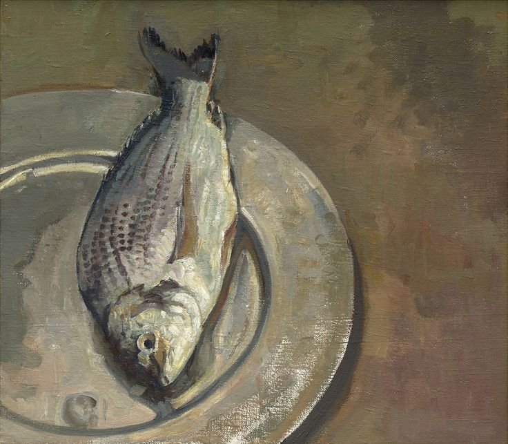 Anthony Springford, Fish on Pewter Plate, giclee print on paper, 2014