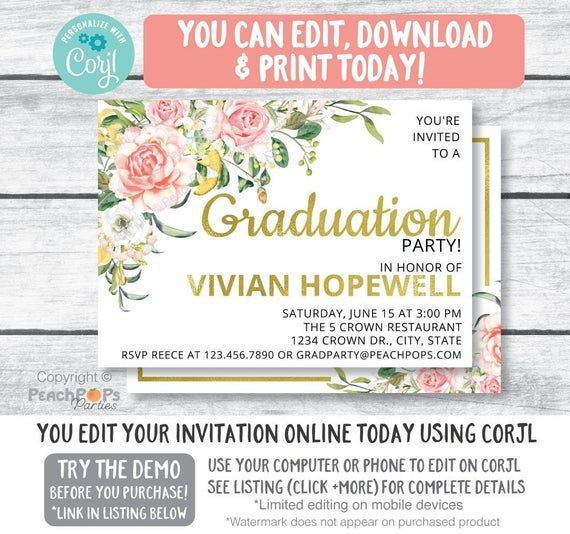 Printable 5x7 High School Graduation Floral Graduation Invitation College Graduation Invitation Graduation Announcement