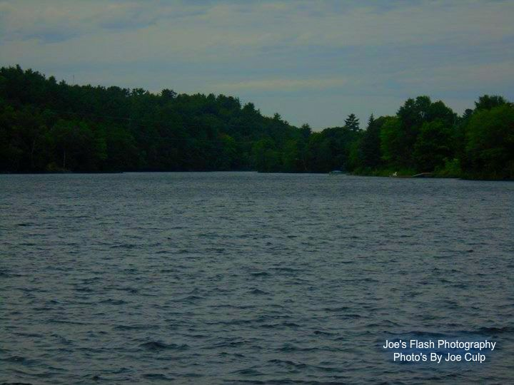 Seguin River as seen downstream from the Mill lake Dam at Ms. Yvonne Williams Park in Parry sound Ontario