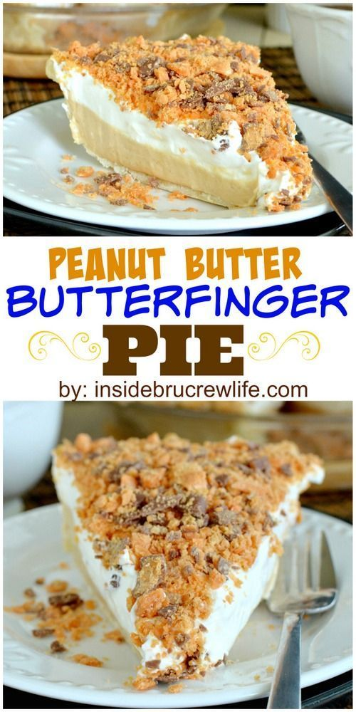 Peanut butter cheesecake topped with crushed Butterfinger pieces in an easy pie.