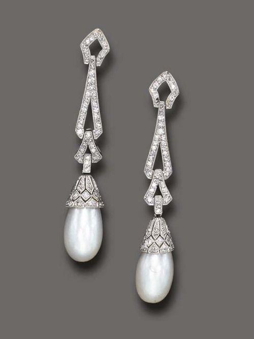 Pearl and Diamond Earrings 1925