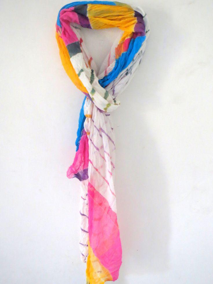 Chiffon lehriya handmade ethnic Traditional Scarf/Shawl/Wrap/Dupatta/stole Made in India by CRAFTYJAIPUR on Etsy