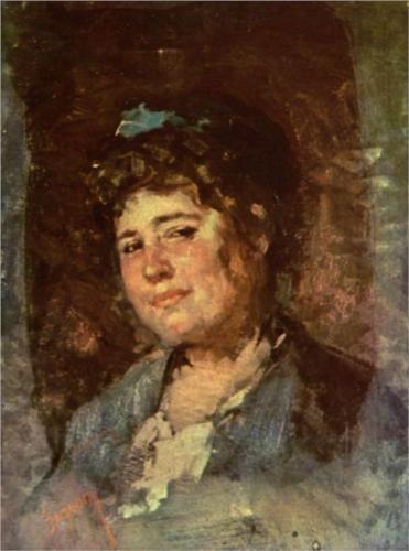 Nicolae Grigorescu (1838 - 1904) | Impressionism | Portrait of Alexandrina Filionescu