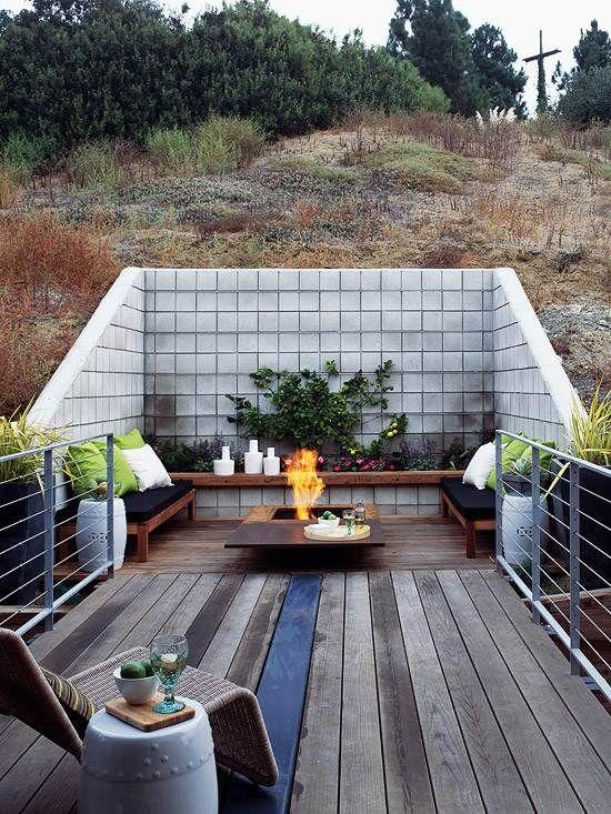 terrasse steilen hang vorteil eingebaute holz b nke deko