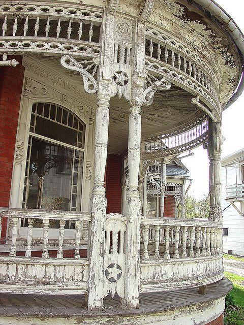 Old Chippy Wraparound Porch...with ornate star trim.
