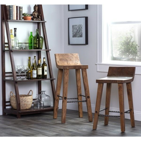 Kosas Home Tam Rustic Brown Elm Wood and Iron Low Back 24-inch Counter Stool - 15656614 - Overstock.com Shopping - Great Deals on Kosas Collections Bar Stools