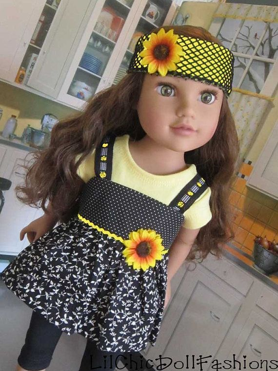 American Girl polka dots and sunflowers. 4 piece ensemble, modeled on Journey Girl and American Girl. LilChicDollFashions, $35.00